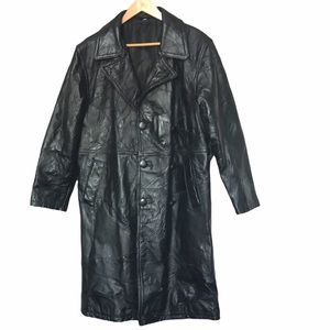 Vintage genuine leather double breasted trench